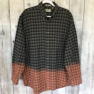 Vintage Bill Blass Dip Dyed Flannel Shirt XLT Tall